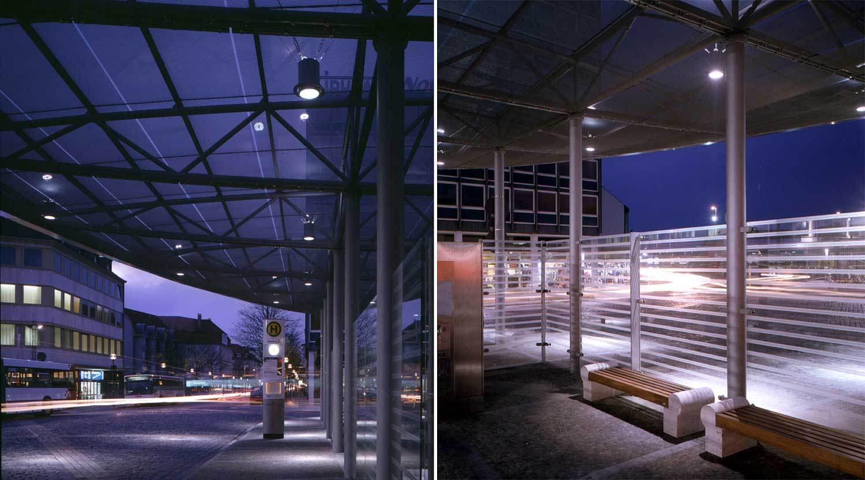 ZOB Osnabrück Blick Detail Nachts Heiderich Architekten Lünen