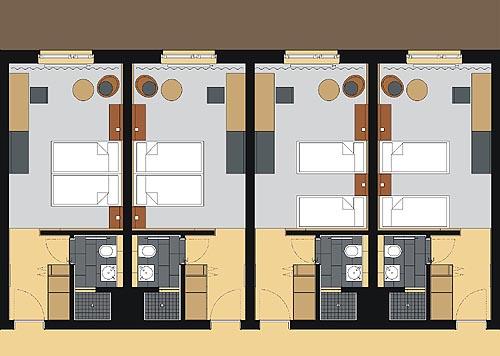 Hotelzimmer Balance im Hotel Zugrücke Grenzau Grundriss Heiderich Architekten Lünen