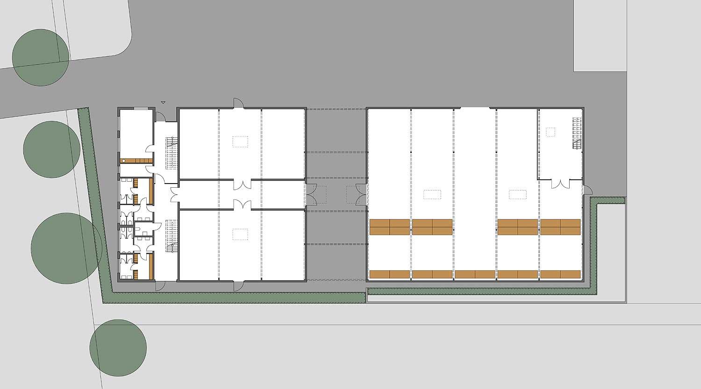Heiderich Architekten, Lünen, Probe- und Logistikzentrum WLT, Castrop-Rauxel, Grundriss EG