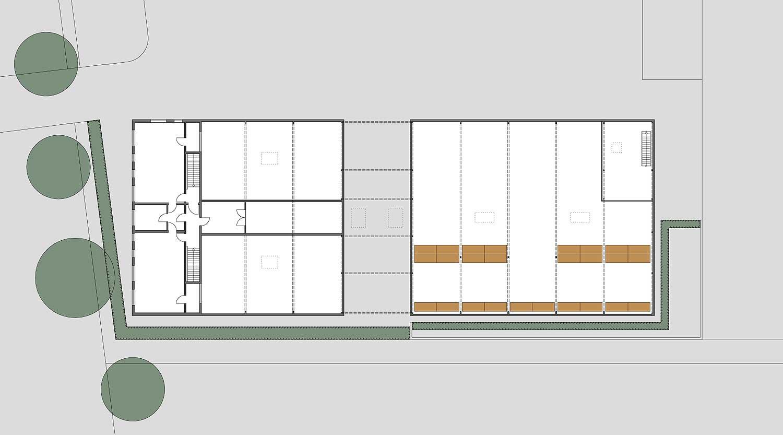 Heiderich Architekten, Lünen, Probe- und Logistikzentrum WLT, Castrop-Rauxel, Grundriss OG