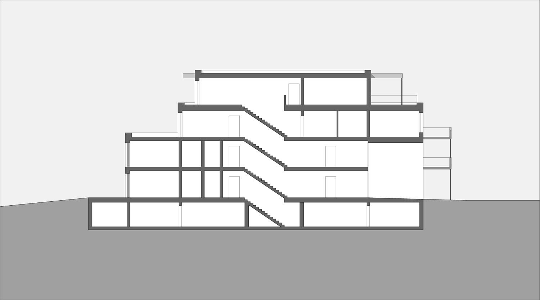 Mehrfamilienhaus Lünen, Schnitt, Heiderich Architekten Lünen
