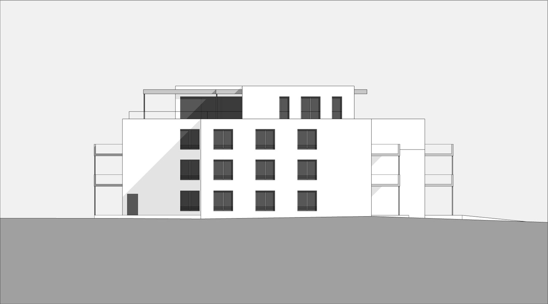 Mehrfamilienhaus Lünen, Seitenansicht, Heiderich Architekten Lünen