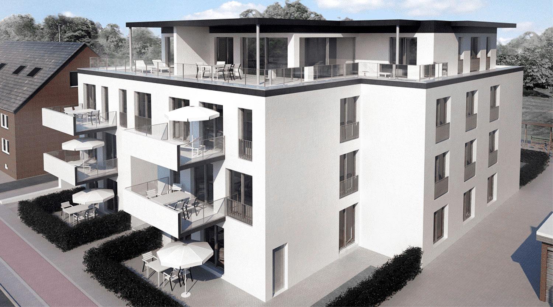 Mehrfamilienhaus Lünen, Strassenansicht, Heiderich Architekten Lünen