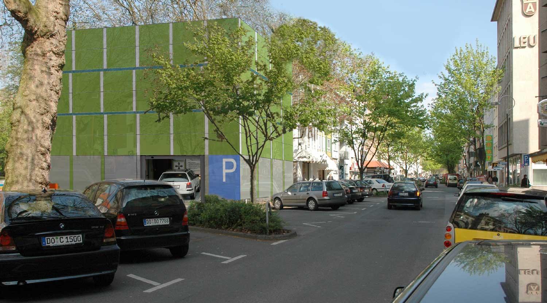 Quartiersgaragen Dortmund Kaiserviertel Perspektive Landgericht Heiderich Architekten Lünen